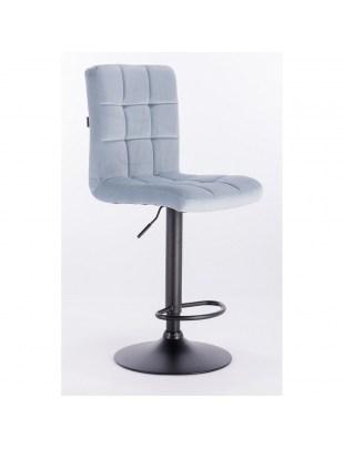 Camelia bar - krzesło kosmetyczne z podnóżkiem błękitny welur