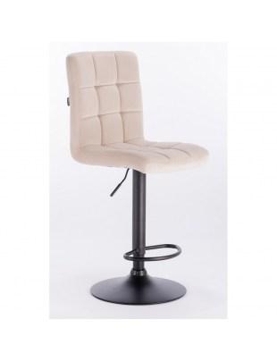 Camelia bar - krzesło kosmetyczne z podnóżkiem kremowy welur