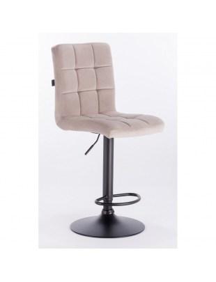 Camelia bar - krzesło kosmetyczne z podnóżkiem beżowy welur
