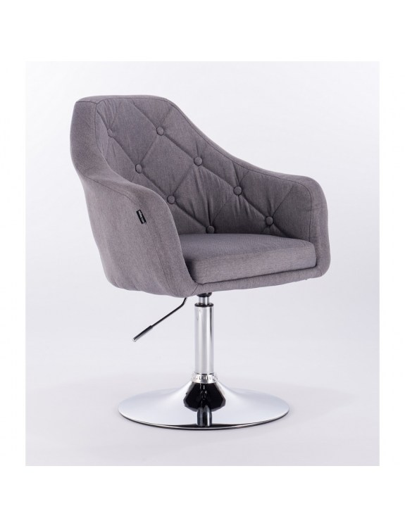 Blerm – krzesło kosmetyczne tapicerowane szarą tkaniną