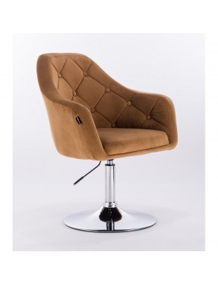 Blerm – krzesło kosmetyczne tapicerowane miodowym welurem