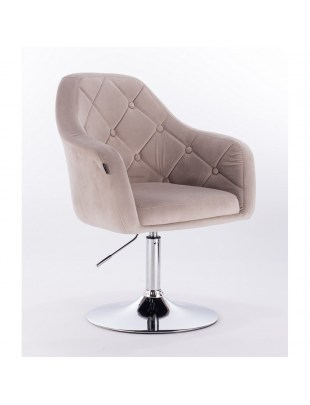 Blerm – krzesło kosmetyczne tapicerowane beżowym welurem