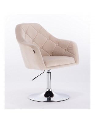Blerm – krzesło kosmetyczne tapicerowane kremowym welurem