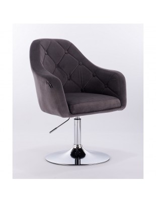 Blerm – krzesło kosmetyczne tapicerowane szarym welurem