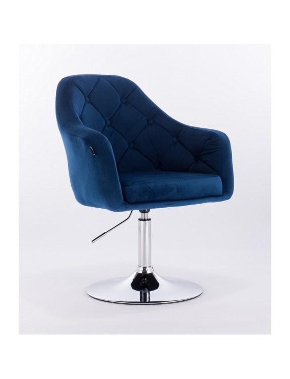 Blerm – krzesło kosmetyczne tapicerowane niebieskim welurem