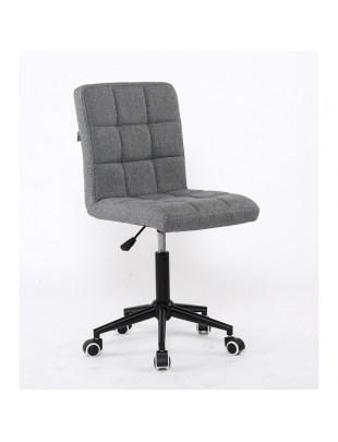 Alia – krzesło kosmetyczne tapicerowane szarą tkaniną na kółkach
