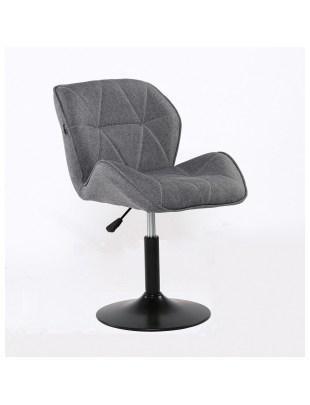 Bret – krzesło kosmetyczne tapicerowane szarą tkaniną na podstawie dysk