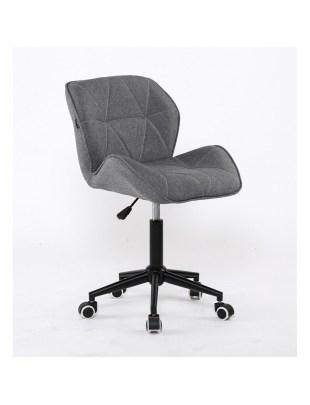 Bret – krzesło kosmetyczne tapicerowane szarą tkaniną na kółkach