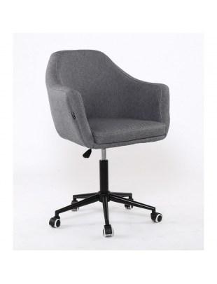 Blerm glat – krzesło kosmetyczne tapicerowane szarą tkaniną na kółkach
