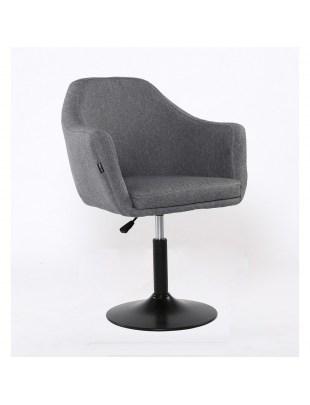 Blerm glat – krzesło kosmetyczne tapicerowane szarą tkaniną na podstawie baza
