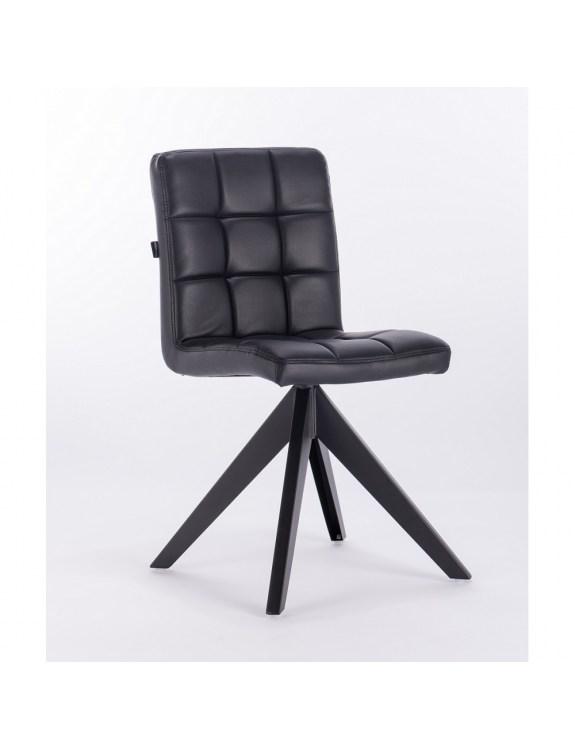 Jorn – krzesło do poczekalni tapicerowane czarną eco-skórą