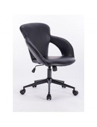 Abela - krzesło kosmetyczne czarne tapicerowane skajem na kółkach