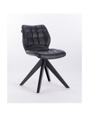 Brita – krzesło do poczekalni tapicerowane czarną eco skórą