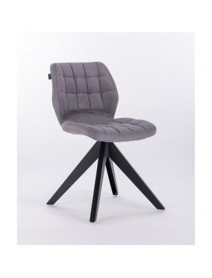 Brita – krzesło do poczekalni tapicerowane szarą tkaniną