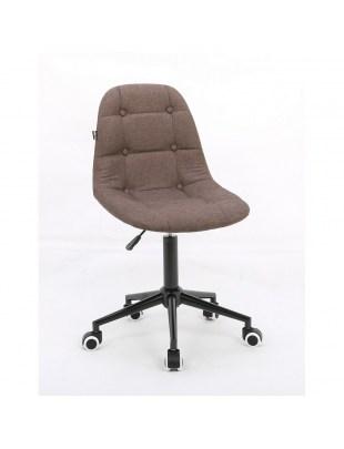 Inga - Krzesło kosmetyczne mokka tkanina na kółkach