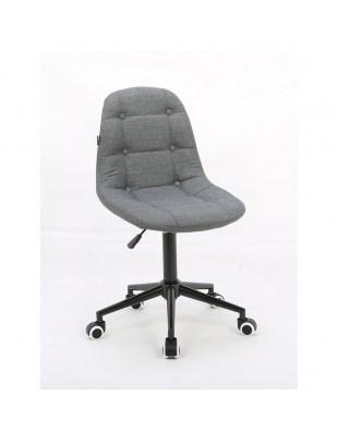 Inga - Krzesło kosmetyczne popielata tkanina na kółkach