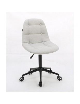 Inga - Krzesło kosmetyczne jasno popielata tkanina na kółkach