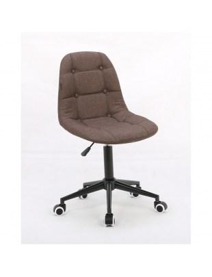 Inga - Krzesło kosmetyczne brązowa tkanina na kółkach