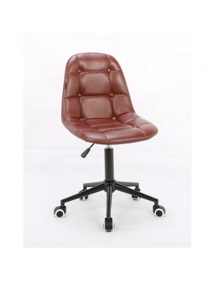 Inga - Fotel fryzjerski tapicerowany brązową eco-skórą na kółkach