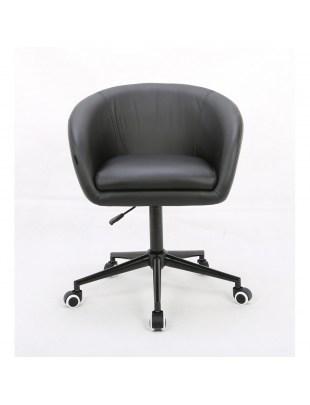 Peba - Fotel fryzjerski tapicerowany czarną eco-skórą na kółkach
