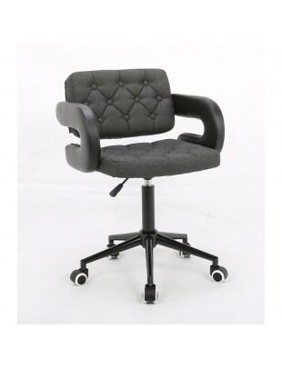 Rin – designerskie szare krzesło kosmetyczne połączenie obicia w eco-skórze i tkaninie z guzikami tapicerskimi na kółkach