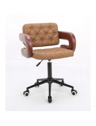 Rin – designerskie cynamonowe krzesło kosmetyczne połączenie obicia w eco-skórze i tkaninie z guzikami tapicerskimi na kółkach