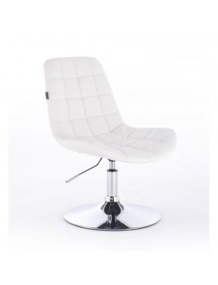 Niklas - Fotel fryzjerski tapicerowany białą ekologiczną skórą