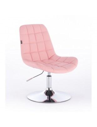 Niklas - Fotel fryzjerski tapicerowany ekologiczną skórą w kolorze pudrowego różu
