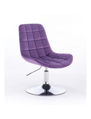 Niklas - Fotel kosmetyczny tapicerowany welurem w kolorze fioletu
