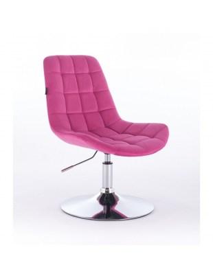 Niklas - Fotel kosmetyczny tapicerowany welurem w kolorze malinowym