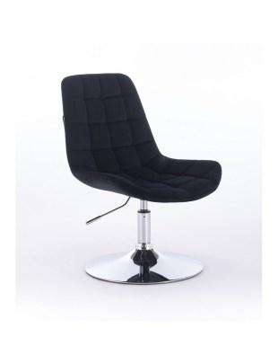 Niklas - Fotel kosmetyczny tapicerowany welurem w kolorze czarnym