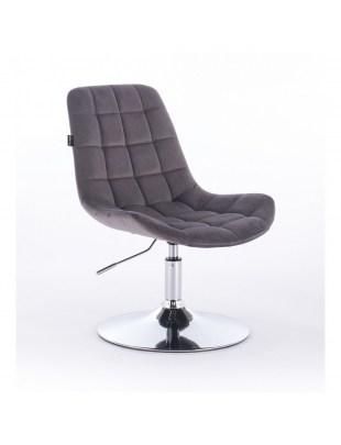 Niklas - Krzesło kosmetyczne tapicerowane welurem w kolorze grafitowym