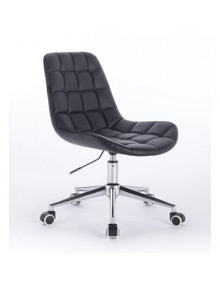Niklas - Fotel fryzjerski tapicerowany czarną ekologiczną skórą na kółkach