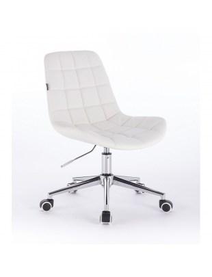 Niklas - Fotel fryzjerski tapicerowany białą ekologiczną skórą na kółkach