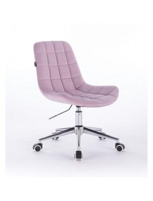 Niklas - Fotel kosmetyczny tapicerowany welurem w kolorze wrzosowym na kółkach