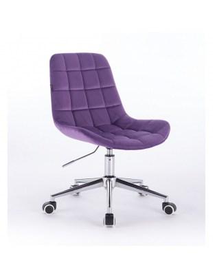 Niklas - Fotel kosmetyczny tapicerowany fioletowym welurem  na kółkach