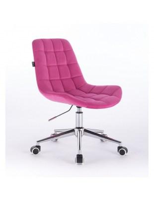 Niklas - Fotel kosmetyczny tapicerowany malinowym welurem na kółkach