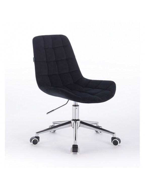 Niklas - Fotel kosmetyczny tapicerowany czarnym welurem na kółkach