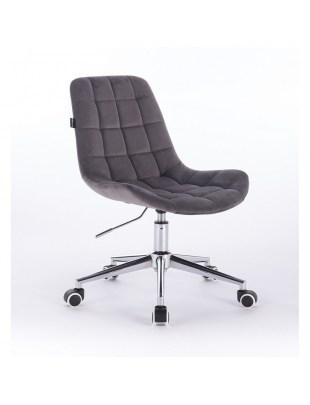 Niklas - Krzesło kosmetyczne tapicerowane grafitowym welurem