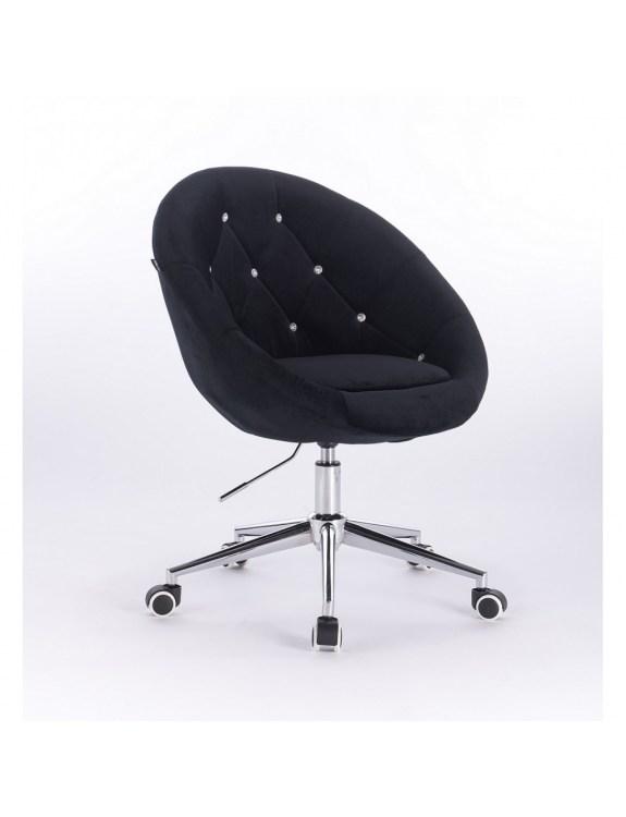 Blom Cristal - krzesło kosmetyczne tapicerowane czarnym welurem z kryształkami na kółkach