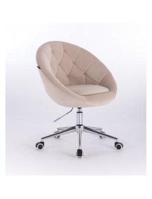 Blom Cristal - krzesło kosmetyczne tapicerowane kremowym welurem z kryształkami na kółkach