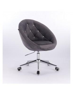 Blom Cristal - krzesło kosmetyczne tapicerowane grafitowym welurem z kryształkami na kółkach