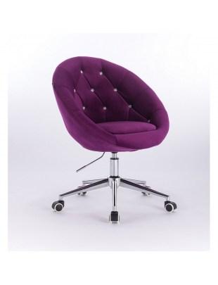 Blom Cristal - krzesło kosmetyczne tapicerowane fioletowym welurem z kryształkami na kółkach