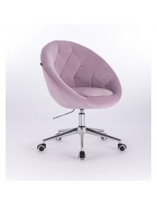Blom Cristal - krzesło kosmetyczne tapicerowane wrzosowym welurem z kryształkami na kółkach
