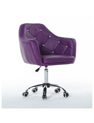 Blink - fioletowy fotel fryzjerski na podstawie z kółkami jezdnymi