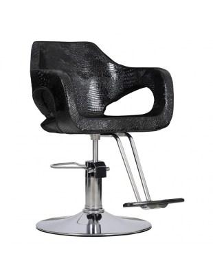 Fotel fryzjerski Bresso - czarny krokodyl