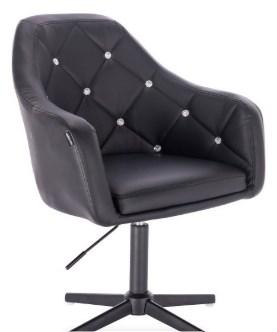 czarny fotel wygodny pikowany eco skora