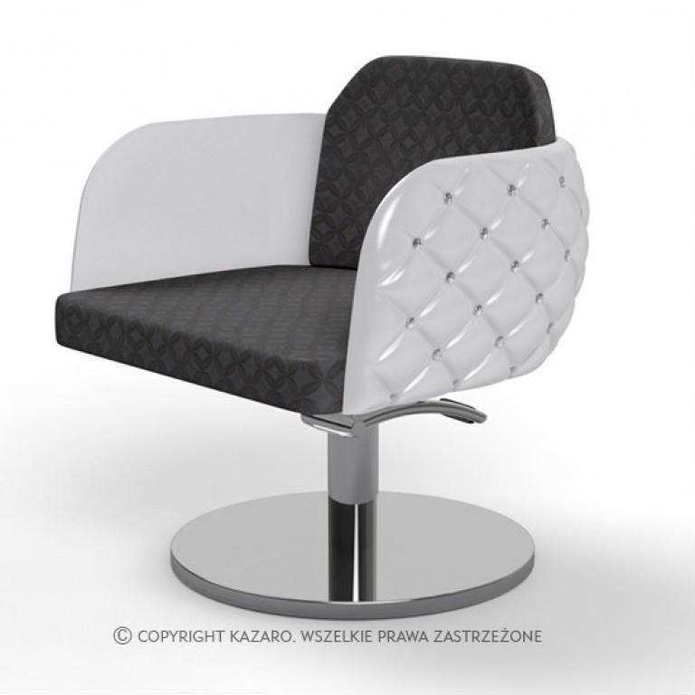 fotel pikowany biało-czarny glamour