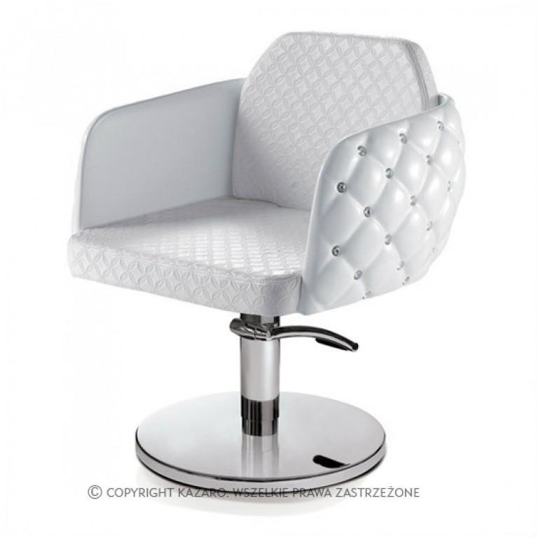 bialy pikowany fotel kosmetyczny / fryzjerski GLAMOUR