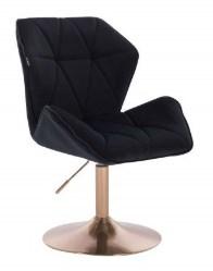 czarny welurowy pikowany fotel obrotowy
